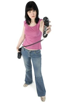 Free Casual Brunette With Phone Stock Image - 694681