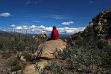 Free Clouds Against Red Hiker Stock Photography - 696272