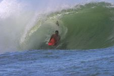 Free Bodyboarder Surfing A Tube Stock Images - 696964