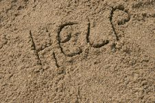 Free Help Written In Sand Stock Photography - 698552