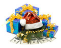 Free Santa S Red Hat, Gift Boxes And Money Royalty Free Stock Images - 6901429