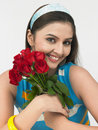 Free Girl With A Bunch Of Roses Royalty Free Stock Photography - 6904307