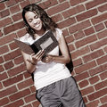 Free Brick Wall Notebook Girl Royalty Free Stock Images - 6906559