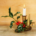 Free Candle And Holly Stock Photo - 6907320