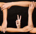 Free Hands Form Frame With Victory Gesture Royalty Free Stock Photography - 6907927