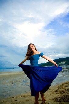 Free Young Eurasian Woman At The Sunset Beach Stock Photos - 6900493