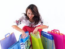 Free Happy Shopping Girl Royalty Free Stock Photo - 6900655
