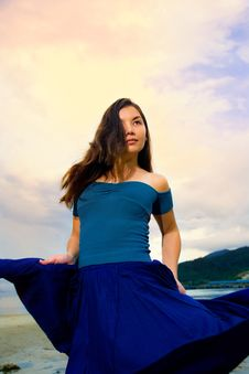 Free Young Eurasian Woman At The Sunset Beach Stock Images - 6901034