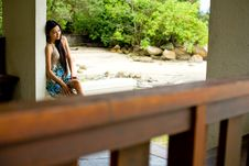 Free Woman Relaxing Under The Hut Royalty Free Stock Photo - 6901045
