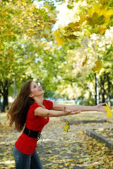 Free Woman And Maple Leaf Stock Photos - 6901173