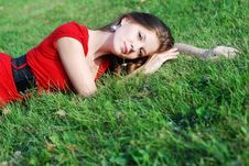 Free Young Woman And  Green Grass Stock Images - 6901294
