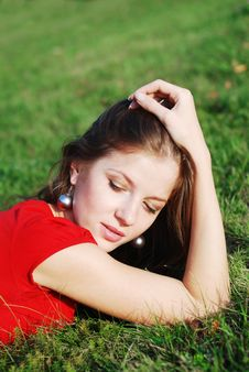 Free Young Woman  And Green Grass Stock Photo - 6901310