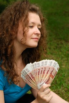 Free Young Beautiful Girl With Money Stock Photos - 6902873