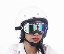 Free Asian Biker Girl Wearing A Helmet Stock Photo - 6903190