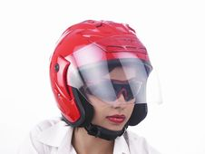 Free Asian Biker Girl Wearing A Helmet Royalty Free Stock Image - 6903196