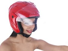 Free Asian Biker Girl With A Red Helmet Stock Photos - 6903213