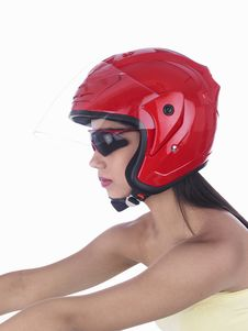 Free Asian Biker Girl With A Red Helmet Royalty Free Stock Photo - 6903225