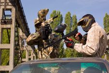 Free Two Paintball Players On The Car Royalty Free Stock Image - 6903566