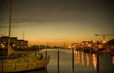 Free Little Harbour At Night Stock Image - 6903851