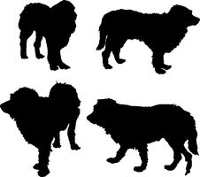 Free Four Dog Silhouettes Royalty Free Stock Image - 6903976