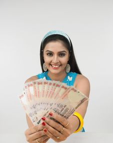 Woman With Currency Notes Stock Image