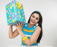 Free Asian Girl With A Gift Box Stock Photos - 6904193