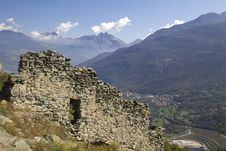 Castle Ruins In Italy, Aosta Royalty Free Stock Photo