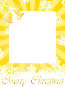Free Gold Christmas Frame Card With Bells & Snowflakes Stock Images - 6904514