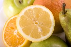 Fruit Salad With Lemon On The Top Stock Image
