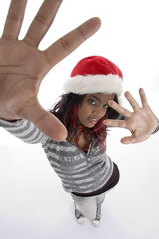 Standing African Girl With Christmas Hat Stock Photos