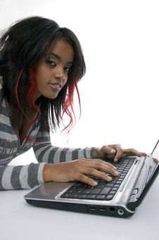 Girl Working On Laptop Royalty Free Stock Photography