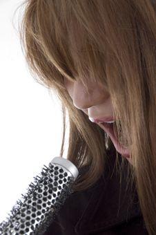 Free Girl Singing Into Karaoke Royalty Free Stock Photos - 6905138