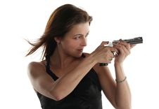 Free Young Woman With Revolver Stock Photos - 6905973