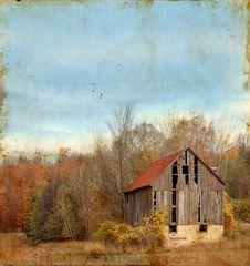 Free Abandoned Barn On Grunge Background Stock Image - 6906791