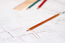 Free Architectural Plan With Pencils And Ruler Royalty Free Stock Photo - 6907095