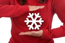 Free Santa Woman Holding Giant Snowflake Stock Photography - 6907592