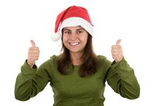 Free Young Santa Woman In Christmas With Thumbs Up Stock Image - 6907621