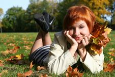 Free Young Woman In Autumn Park Royalty Free Stock Photography - 6908087