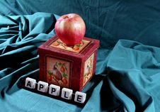 Apple On Box Stock Photo