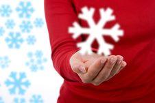 Free Santa Woman Holding Giant Snowflake Royalty Free Stock Photography - 6909097