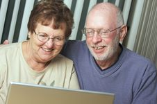 Free Senior Adults On Laptop Computer Stock Photo - 6909100