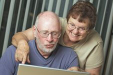 Free Senior Adults On Laptop Computer Stock Photos - 6909223