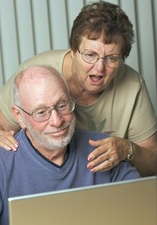 Free Senior Adults On Laptop Computer Stock Photos - 6909273
