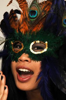 Happy Woman With A Mask. Royalty Free Stock Photo