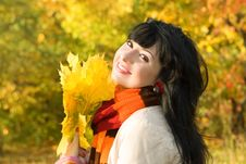 Free Young Woman In The Autumn Park Royalty Free Stock Photos - 6909848