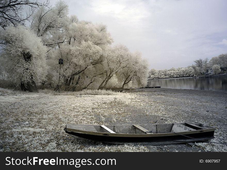 Duotone infrared river shore
