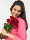 Free Asian Lady With Red Roses Stock Image - 6911231
