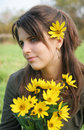 Free Girl With Yellow Flowers Royalty Free Stock Images - 6911639