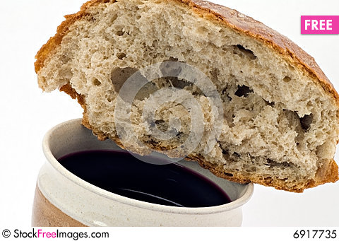 red wine and bread communion free stock images