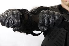 Free Protective Glove Of Biker Isolated White Stock Photography - 6910002